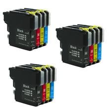 Cartucho de tinta de impresora LC985 LC975 LC39, Compatible con Brother DCP385C DCP J125 DCP J315W MFC J415W J700DW, 12x, MFC J410