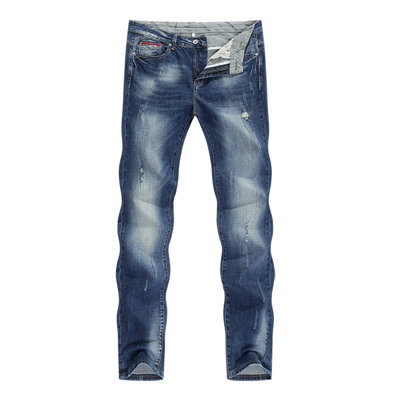 Fashion Ripped Jeans Men Stretch Blue Streetwear Distressed Hip hop Mens jeans Regular Fit Male Long Trousers Pants Big size 40 11