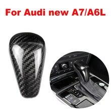 ใหม่คาร์บอนไฟเบอร์ Shift Knob Head สำหรับ Audi ใหม่ A7/A6L 2015 2018 เกียร์ Shifter Lever Stick
