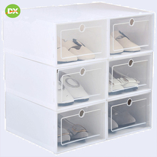Fashion Attractive Transparent Plastic Shoe Storage Artifact Box Flip Drawer Livingroom Square Organizer Container