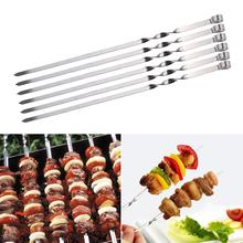 6pcs/set Reusable Barbecue Skewers Stainless Steel Skewer Shish Kabob Stick Flat BBQ Needle Accessories Long Grill Set Wide Tool цена 2017