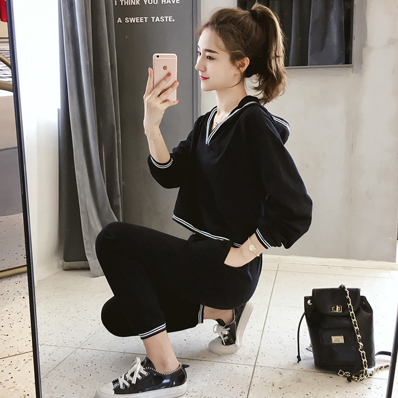 Fashion Hoodie Women's New Style Korean-style Students Loose-Fit Slimming Casual Sports Pants Set
