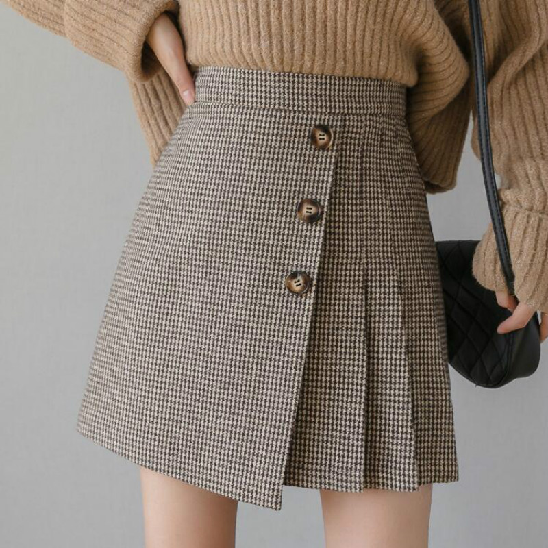 Korean Preppy Style Plaid High Waist Pleated Mini Skirt Women 2019 New Autumn Winter Woolen Skirts Female Casual Skirt