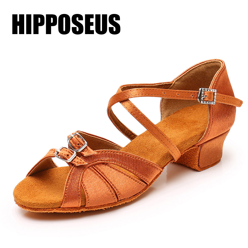 Children Dance Shoes for Girls Women Ballroom Latin shoes Ladies Modern Tango Dancing Performance Shoes Salsa Sandals 3.5CM Heel