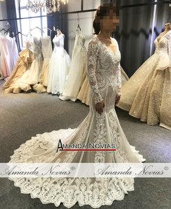 Image 5 - Lace mermaid wedding dress customer order color 2019 bride dress