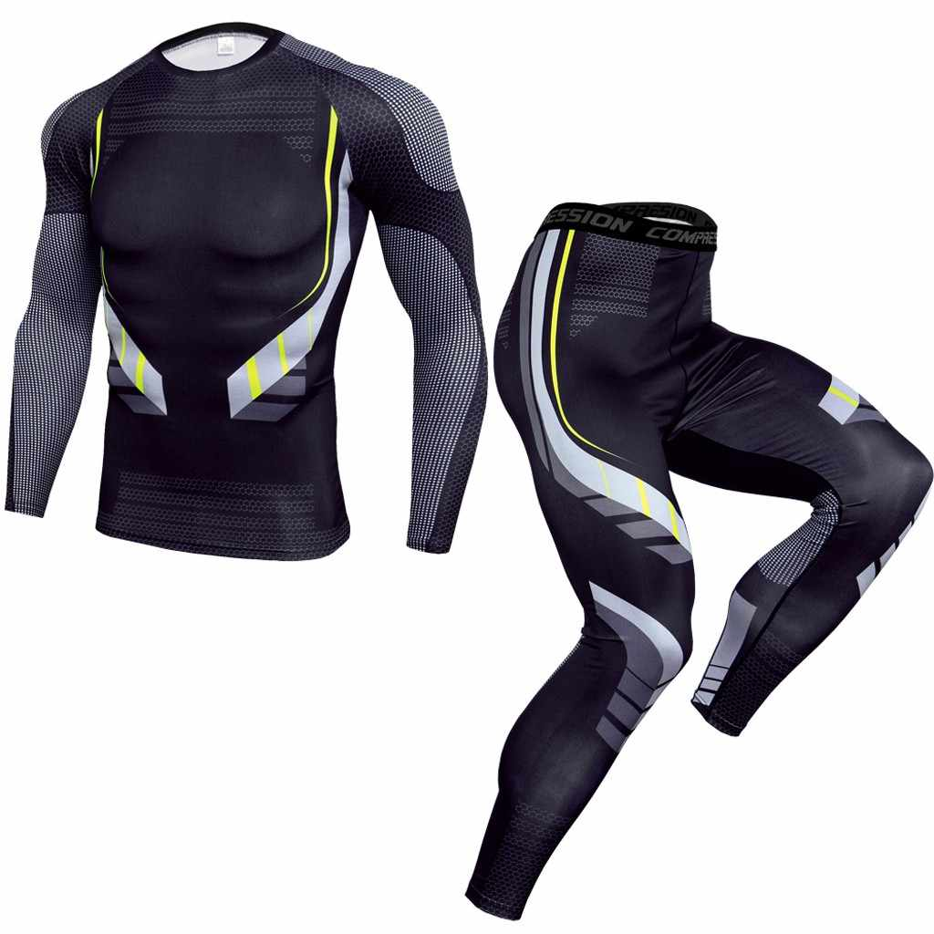 2 Stuk Trainingspak Mannen Compressie Lange Mouw T-shirt Kit Print Sweatshirt + Leggings Fitness Thermisch Ondergoed 9.2