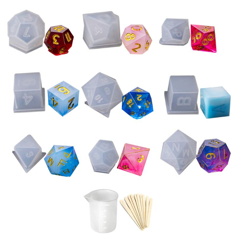 2019 New DIY Crystal Epoxy Mold Dice Fillet Shape Multi-spec Digital Game High Mirror Dice Mold Silicone Mould Making
