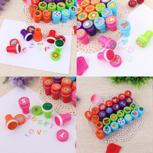 26pcs/Set Cartoon Bring Inkpad Seal Toy Stamps Cartoon Animals Letter Kids Seal For Scrapbooking Stamper DIY Cartoon Stamper Toy