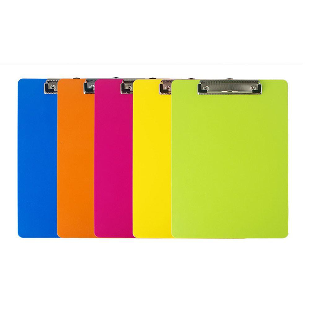 Multicolor A4 Plastic Clip Board Portable File Clipboard Hook Office Writing Pad Cute Stationery For Gift Supplies With P0H5