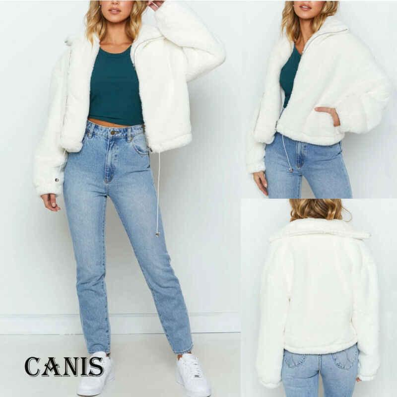 秋冬ウォームプラスサイズの女性の長袖ジッパーニットふわふわカーディガンセーターポケットコートジャケット