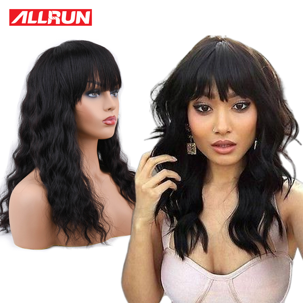 ALLRUN Malaysia Ocean Wave Human Hair Wigs With Adjustable Bangs Human Hair Wigs non remy Hair