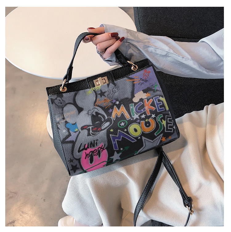 2020 American Graffiti Printed Cartoon High Quality Pu Leather Platinum Package Buckle Handbag Multicolored Print For New York
