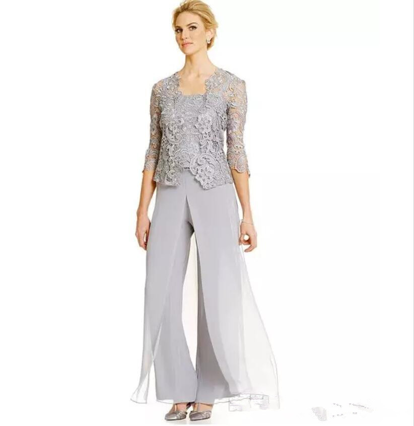 Three Pieces Mother Of the Bride Pant Suit Plus Size Scalloped Mothers Suit With Lace Jacket Mother of the Bride dresses 2019