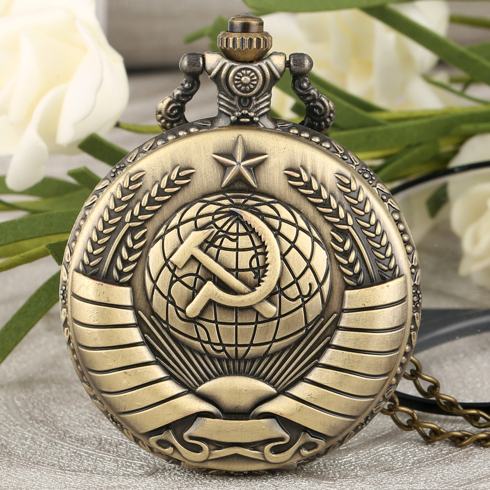 Antique Bronze Quartz Pocket Watch Communism Pattern Pendant Necklace Watches Casual Clock Steampunk Fob Watch Dropshipping