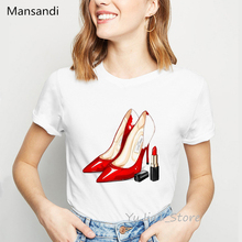 Red High Heel T Shirt Luxury Make Up Paris Style T-Shirt Women Summer Tops tee shirt femme Girl Hipster T-shirts streetwear