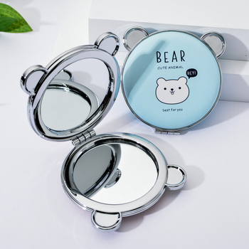 Portable Pocket Mini Makeup Mirror for Girls Double Sided Mirrors Cosmetic Cute Bear Compact Outdoor espejo de maquillaje portable double sided folding cosmetic mirror female gifts with flowing sparkling sand mini makeup mirror compact pocket mirrors