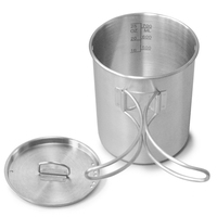 Portable Handle Coffee Food Outdoor Camping Foldable Mug Lid Stainless Steel Water Cup Picnic Cooking Hook Hanging Pot Outdoor-Geschirr    -