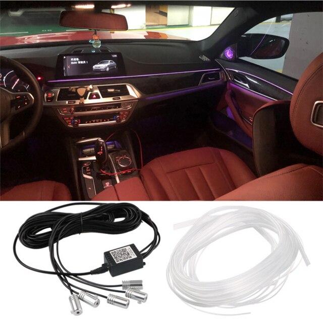 Auto Omgevingslicht Led Voet Lamp Auto Sfeer Verlichting Led Strip Rgb Kleur Meerdere Modi Automotive Interieur Decoratieve Verlichting
