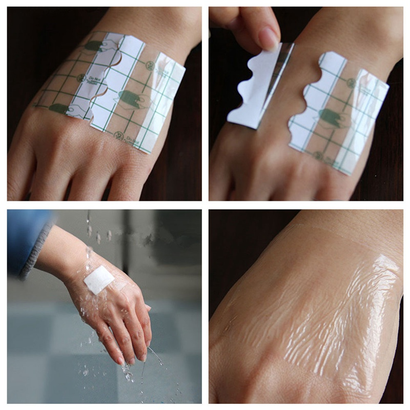 100 Pcs/set Medical Transparent Tape PU Film Adhesive Plaster Waterproof Anti-allergic Medicinal Wound Dressing Fixation Tape