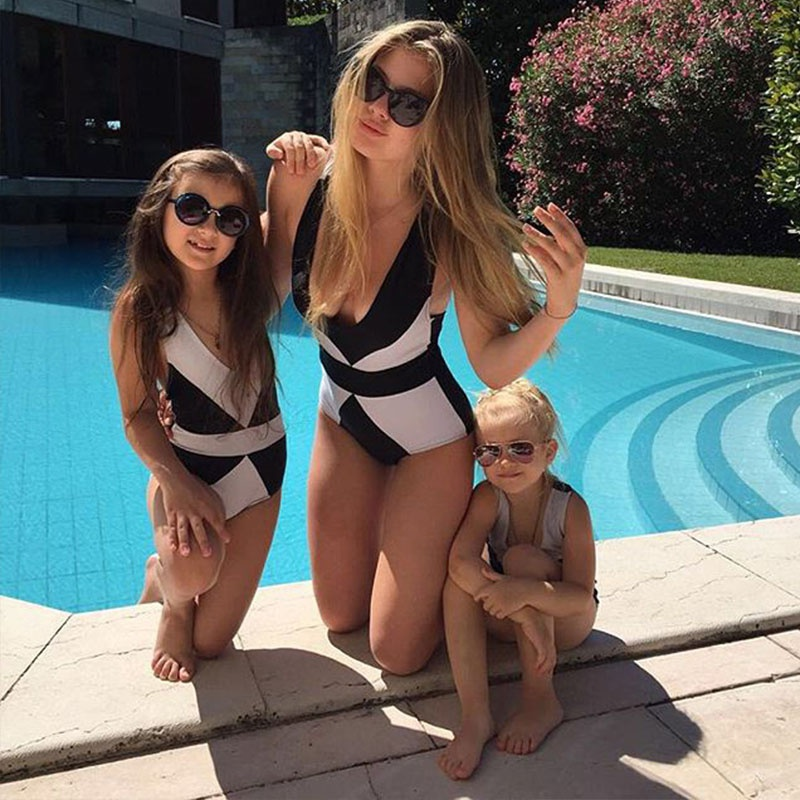 2020 Swimsuit Mommy And Me Matching Family Swimsuit One-piece Geometric Printed Women Swimwear Toddler Bikini Bathing Suit