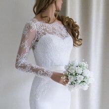 К 2020 году новые простые шифон спинки атласная Русалка свадебное платье с длинным рукавом развертки поезд vestido де noiva кружева аппликации