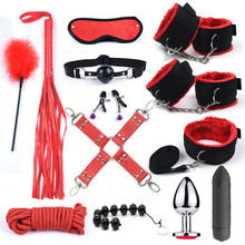 Bdsm 10 Speeds Vibrator Bondage Set Metal Anal Plug Sex Toys for Women Men Handcuffs Sex Nipple Clamps Whip Spanking Rope