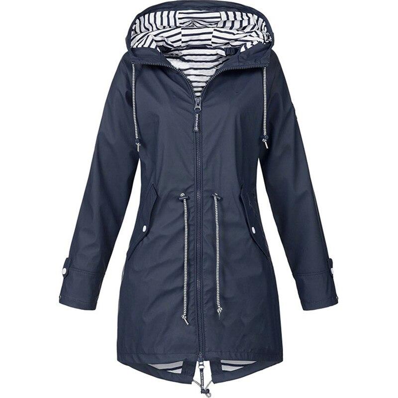 XXXXXL ladies casual Coat autumn winter large size women 39 s Windbreaker waterproof windproof hooded Slim long sleeved outwear in Trench from Women 39 s Clothing