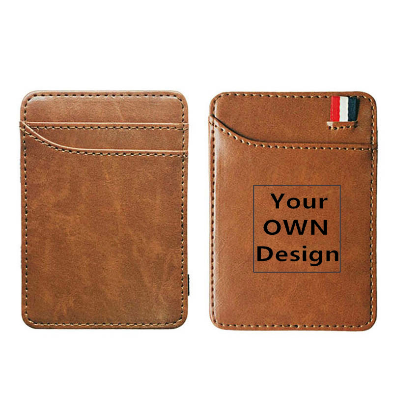 Your OWN Design Brand Logo/Picture Custom Leather Magic Wallets Fashion Men Women Money Clips Card Purse Cash Holder
