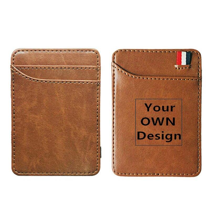 Your OWN Design Brand Logo/Picture Custom Leather Magic Wallets Fashion Men Women Money Clips Card Purse Cash Holder