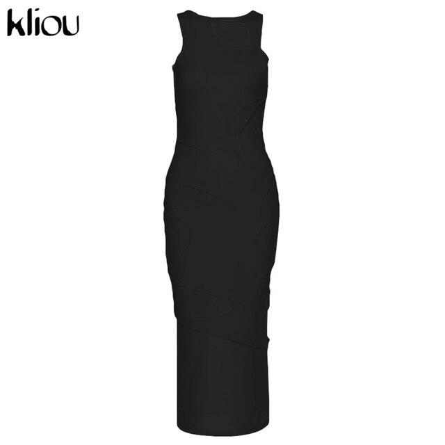 Kliou Sexy Maxi Dress Women Spring Active Irregular Shape Streetwear Sleeveless Skinny Slim Bodycon Vestido Sense of Design Hot 6