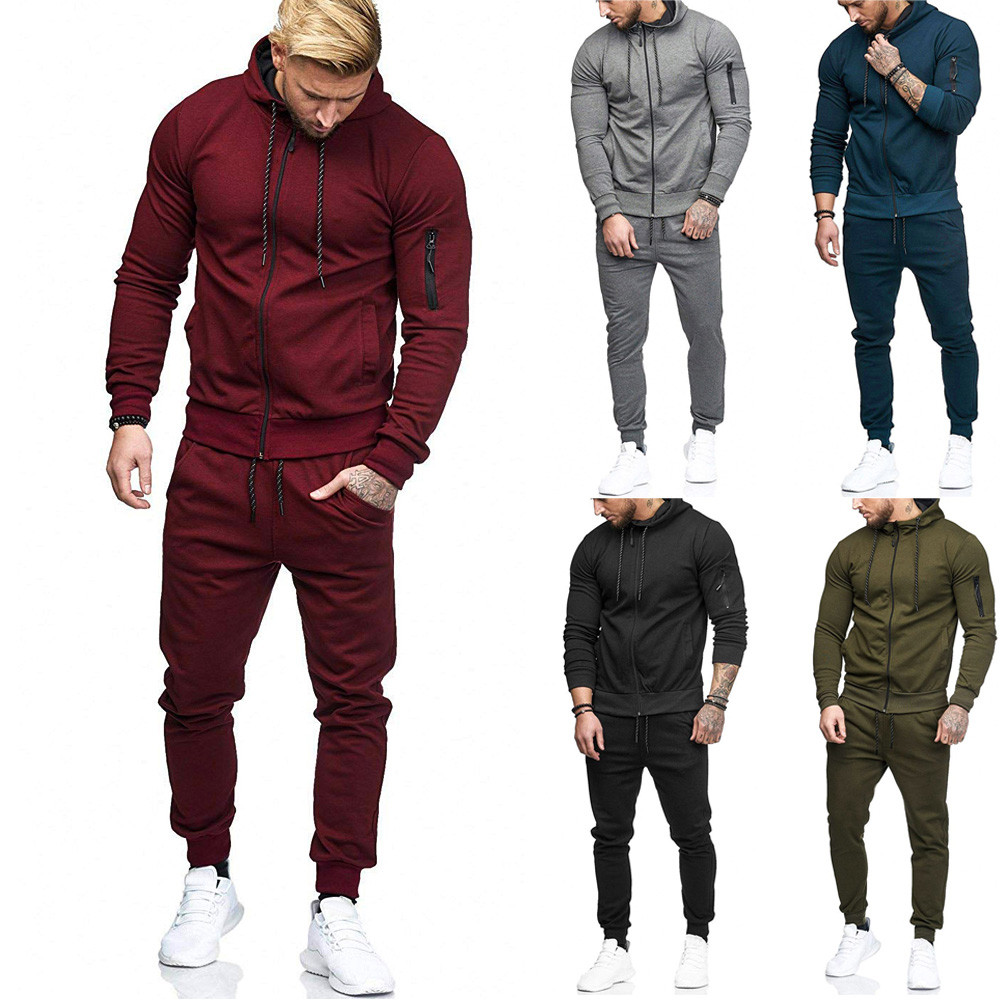 Men's Sportswear Autumn Patchwork Zipper Sweatshirt Top Pants Sets Sports Suit Tracksuit Men Track Suit 2019 Survetement Homme