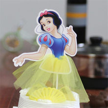 Christmas cake flagged Cute Princess Series Snow White Sofia Cinderella Cupcake Toppers Party Supplies Birthday Decor Supplies(China)