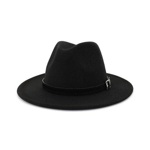 QIUBOSS Men Women Wide Brim Wool Felt Fedora Panama Hat with Belt Buckle Jazz Trilby Cap Party Formal Top Hat In White,black Lahore