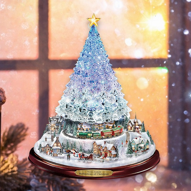Christmas Reflections 2021 Christmas Tree Rotating Sculpture Train Decorations Paste Window Paste Stickers For Christmas Decorations 2021 New Yeardropship Wall Stickers Aliexpress