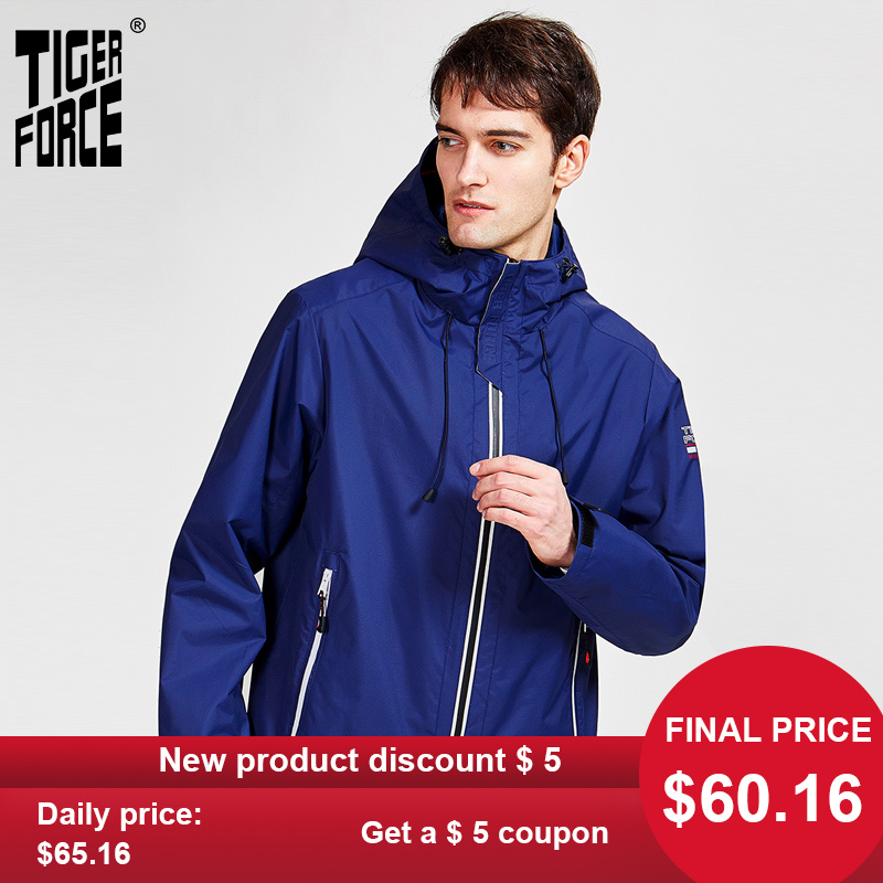 TIGER FORCE 2020 new arrival men spring autumn jacket high quality warm streetwear sport solid color outwear hood clothes 50613 title=