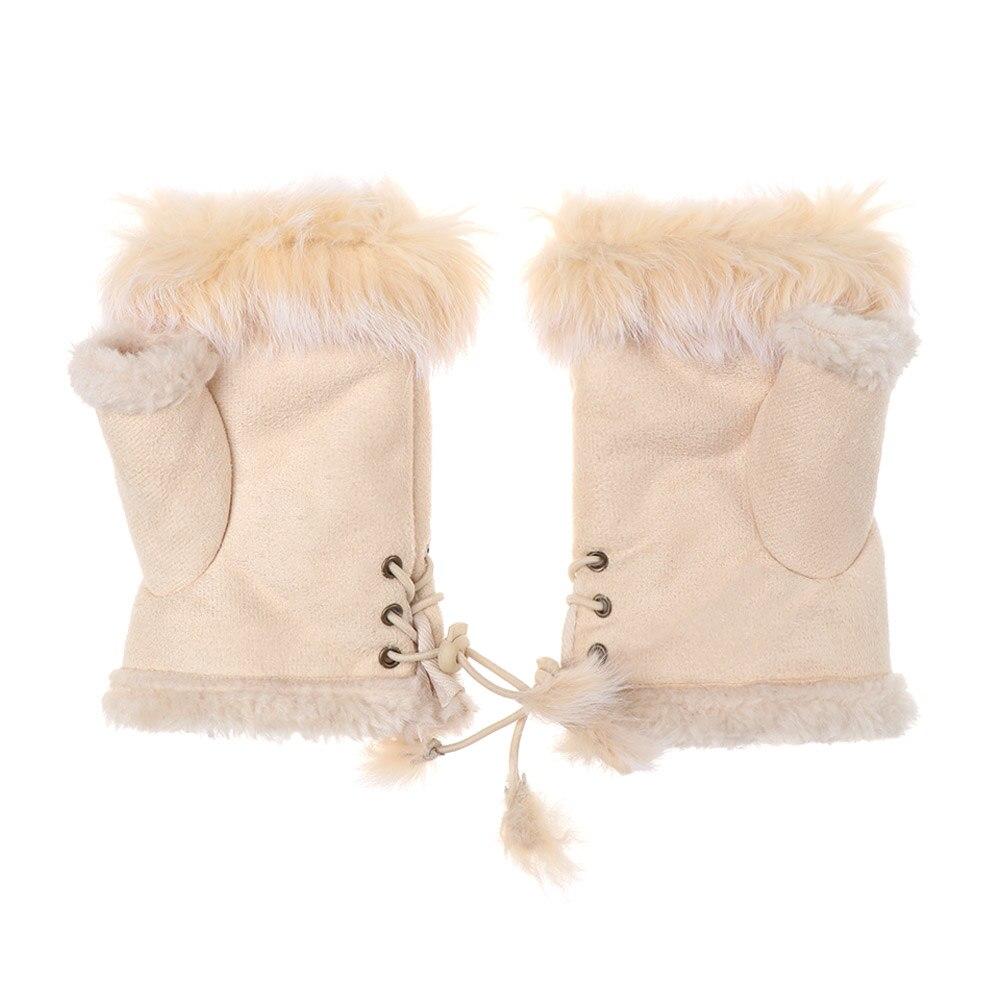1Pair Fashion Suede Leather Women Wrist Mitten Fingerless Gloves Gloves Faux Rabbit Winter Glove Half Finger Mitten High Quality