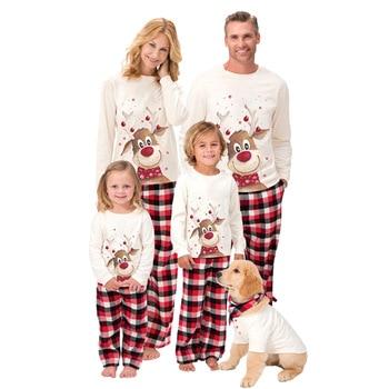 New Christmas Family Pajamas Set Adult Kids Pajamas Sleepwear 2 PCS Sets Deer Tops+Plaid Pants Xmas Family Look Matching Outfits