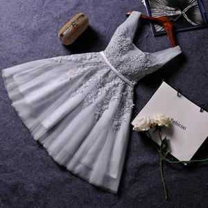 Elegant Pearl Pink Dresses Sexy Dress Short V Neck Appliques Beading Lace Up Knee-Length Graduation Party Gowns(China)