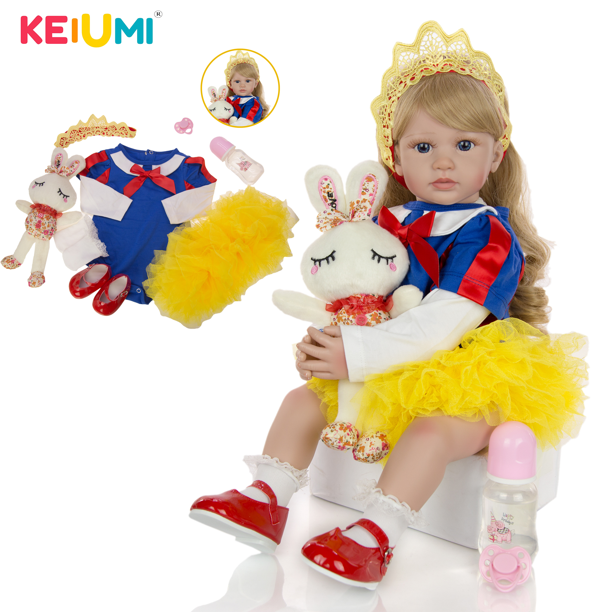 Keiumi reborn menina boneca 60 cm silicone macio algodão corpo adorável renascer princesa bebê bonecas longo cachos de ouro para presentes das crianças