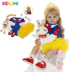 KEIUMI Reborn Girl Doll 60 cm silikonowe miękkie bawełniane ciało piękne Reborn księżniczka lalki dla dzieci długie złote loki dla dzieci prezenty