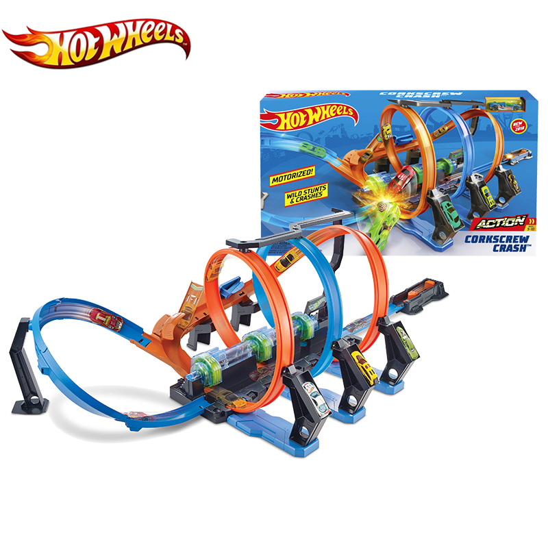 Hot Wheels Corkscrew Crash Car Plastic Track Set Chain Corner Impact Racing Loops and Diecast Mini Toy Hotwheels FTB65 Gift