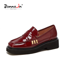 Flats-Shoes Platform-Loafers Square-Toe Office Classic Slip-On Women Patent Donna-In