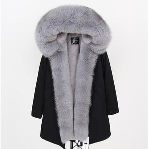 Image 2 - 2019 Donne Cappotto di pelliccia Reale di modo naturale reale della pelliccia di fox del collare allentato lungo parka grande collo di pelliccia della tuta sportiva Staccabile giacca invernale