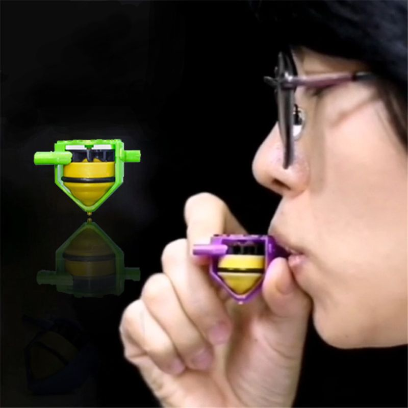 HBB 1PC Novelty Whistle Gyro Toys Blowing Rotation Stress Relief Desktop Spinning Top Kids Children Toys Random Color