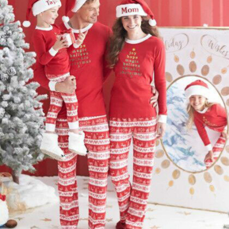 Lovely Christmas Dad&Mom-child Sets Family Matching Pajamas Long Sleeve Red Letter Printing Family Look Pajama Suit QZ025