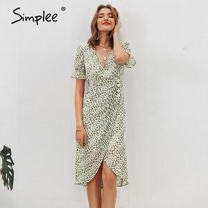 Image 5 - Simplee 플로랄 프린트 여성 드레스 짧은 소매 단추 높은 허리 여름 드레스 숙녀 v 목 boho 비치웨어 bodycon 드레스 2020