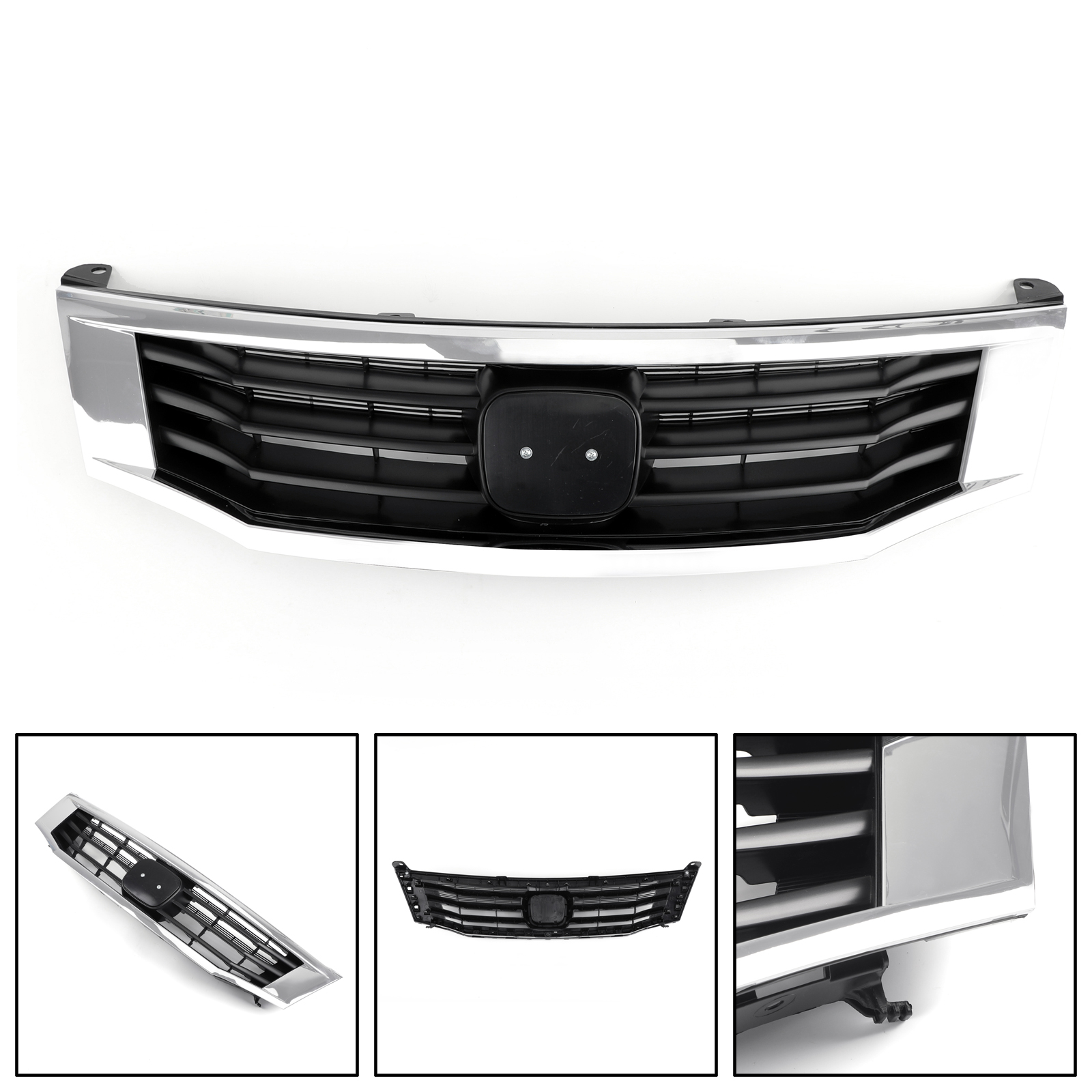 Areyourshop Front <font><b>Grille</b></font> Primed Black With Chrome Molding Trim For <font><b>Honda</b></font> <font><b>Accord</b></font> <font><b>2008</b></font>-2010 Upper Bumper <font><b>Grille</b></font> Car Accessories image