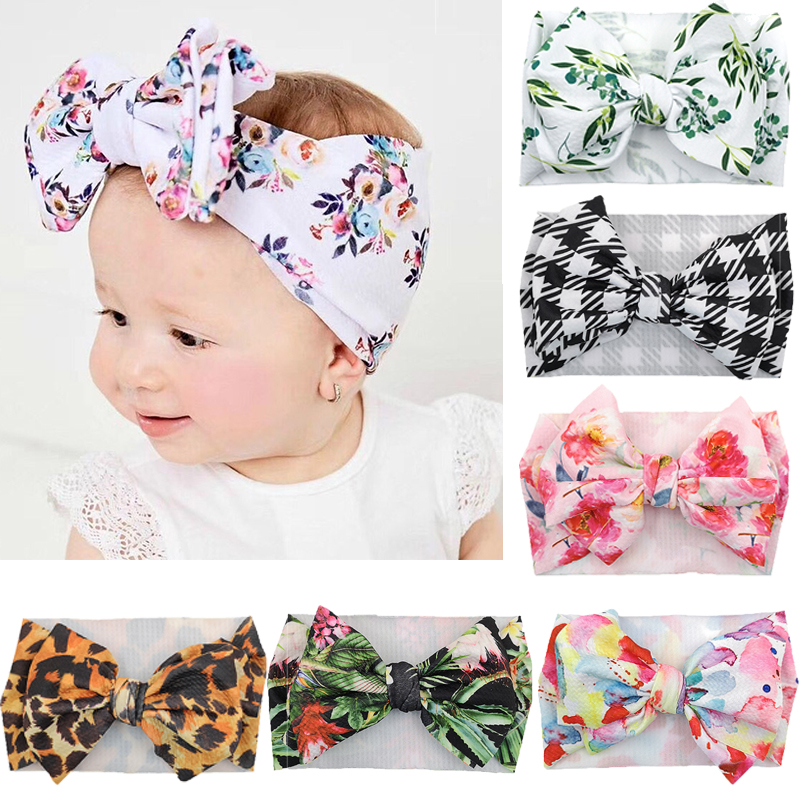 30 Pcs/lot Turban Headband Baby Girls Headband Knot Bow Printing Floral  Plaid Leopard Heaswrap Newborn Toddler Hair Accessories