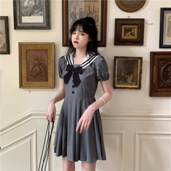 Japanese Academic Sailor Collar Girl's Skirt 2020 Summer New Western Bow Hipster Dress Women sweet Lolita dress princess Women's Clothing & Accessories 6f6cb72d544962fa333e2e: M|S