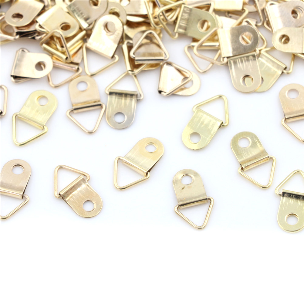 100pcs Golden Triangle D-Ring Hanging Picture oil Painting Mirror Frame Hooks Hangers  10*20mm